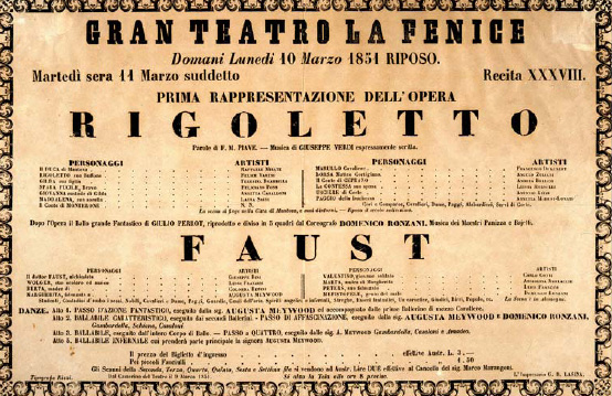 A block printed poster from the premiere of Rigoletto.