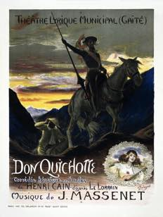 the original illustrated poster for Massenet's Don Quichotte