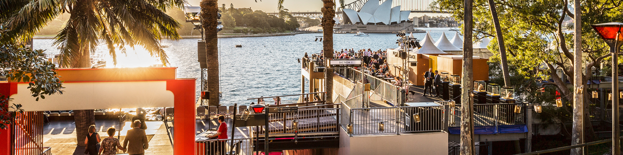 Sunset on Sydney Harbour and the dining terrace of the custom-built Opera on Sydney Harbour site.