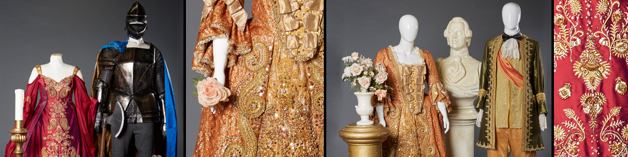An orange dress with hand-embroidered gold detail