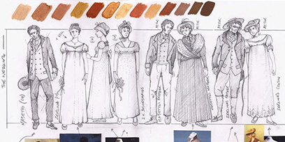 See the costume designs for Don Giovanni