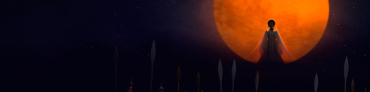 a woman stands in front of a red moon
