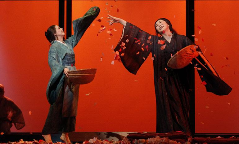 Sian Pendry as Suzuki and Alexia Voulgaridou as Cio-Cio-San in Opera Australia's 'Madama Butterfly'. Photo by Jeff Busby.