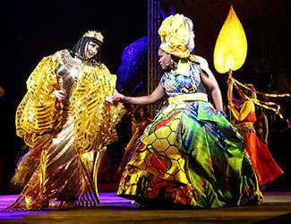 Milijana Nikolic as Amneris and Latonia Moore as Aida in Handa Opera on Sydney Harbour - Aida