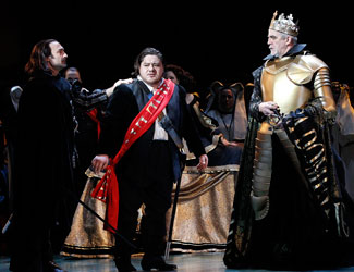 José Carbó (Rodrigo, Count of Posa), Diego Torre (Don Carlos) and Giacomo Prestia (Philip II) in Opera Australia's Don Carlos.