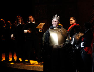 Giacomo Prestia performs the role of Philip II in Opera Australia's Don Carlos. (Diego Torre as Don Carlos in background).