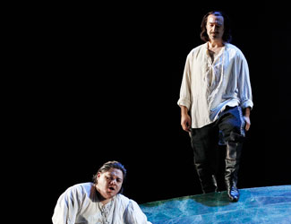 Diego Torre (Don Carlos) and José Carbó (Rodrigo, Count of Posa) in Opera Australia's Don Carlos.