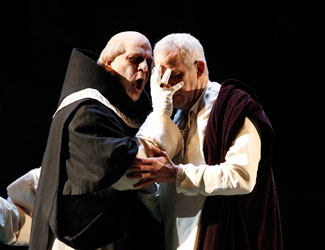 Daniel Sumegi (Grand Inquisitor) and Giacomo Prestia (Philip II) in Opera Australia's Don Carlos.