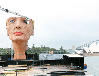 The head of Nefertiti is constructed at Handa Opera on Sydney Harbour 2015