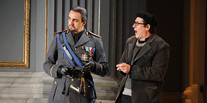 Claudio Sgura as Scarpia and Luke Gabbedy as the Sacristan.