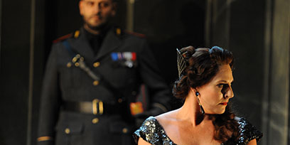 Benjamin Rasheed as Spoletta and Amanda Echalaz as Tosca.