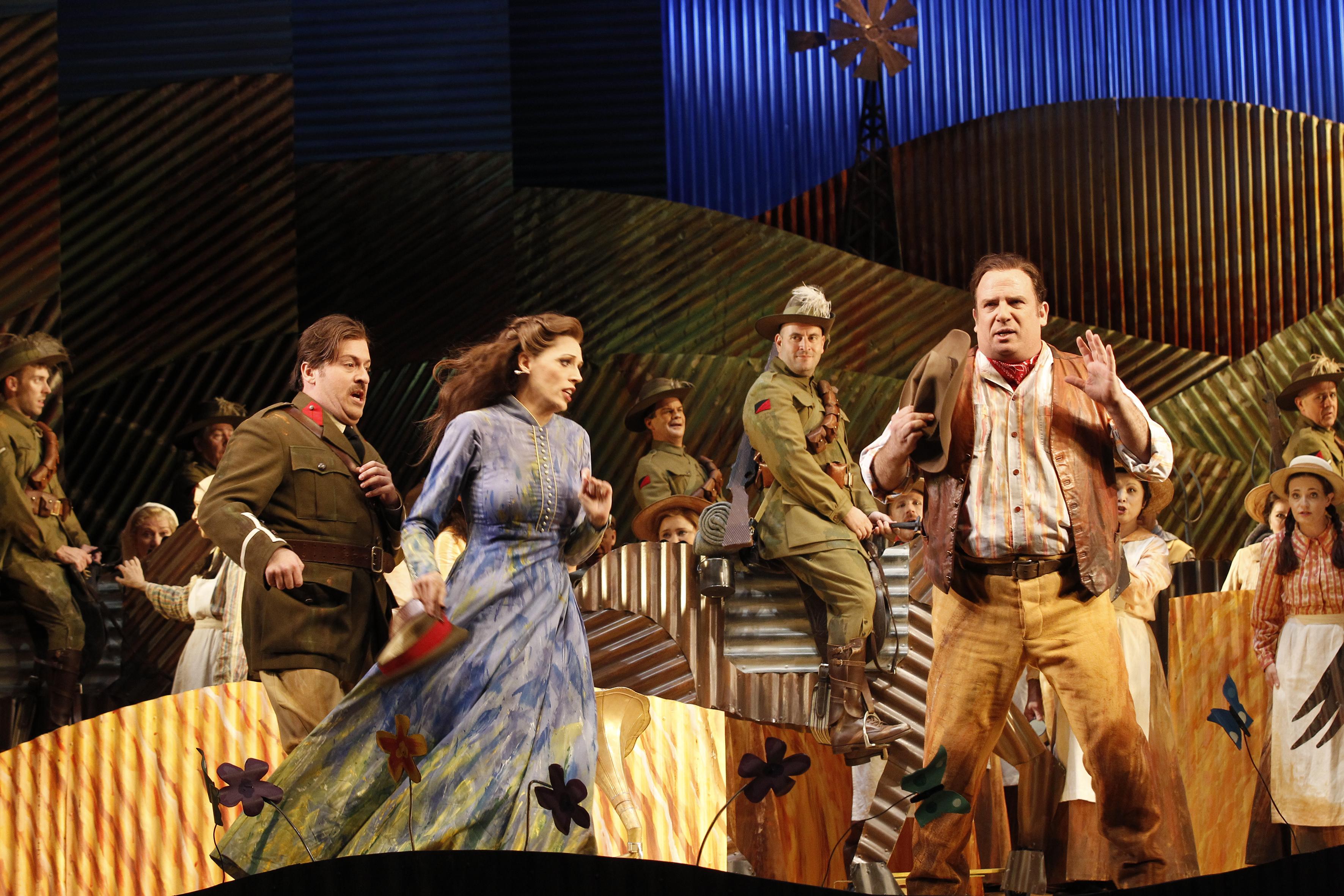 Christopher Hillier (Belcore), Rachelle Durkin (Adina) and Aldo Di Toro (Nemorino) in Opera Australia's The Elixir of Love.