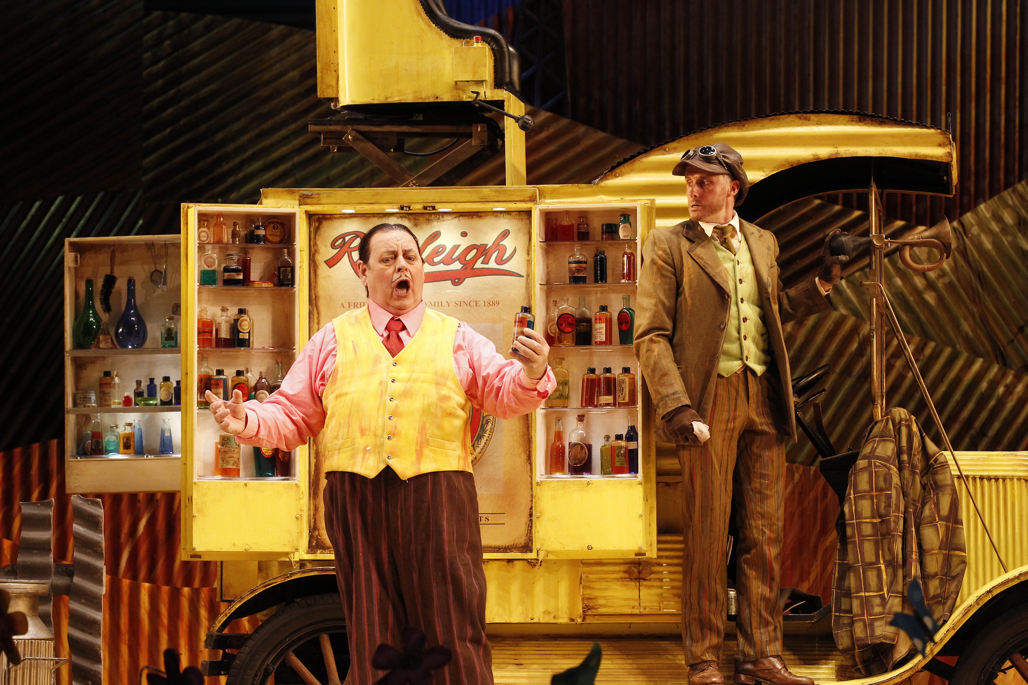 (Left) Conal Coad (Dulcamara) in Opera Australia's The Elixir of Love