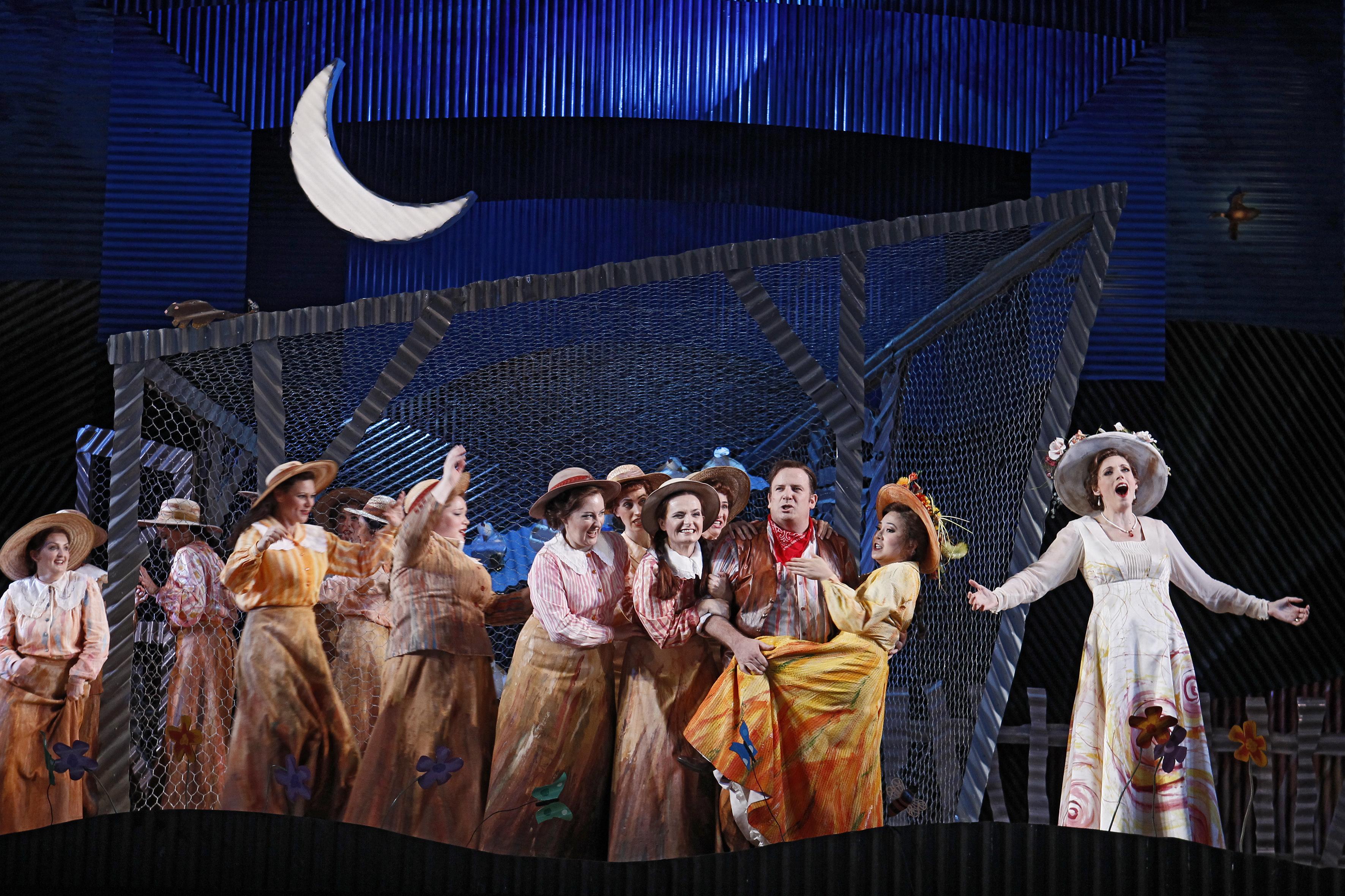 Aldo Di Toro (Nemorino), the Opera Australia Chorus and Rachelle Durkin (Adina)