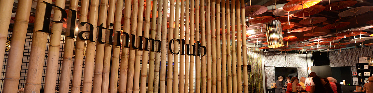 The exclusive entrance to The Platinum Club is behind a bamboo screen.