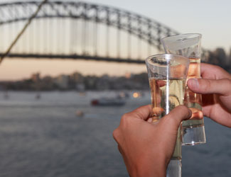 Champagne toast and the Harbour Bridge