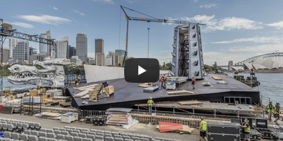 Building the stage for Turandot on Sydney Harbour