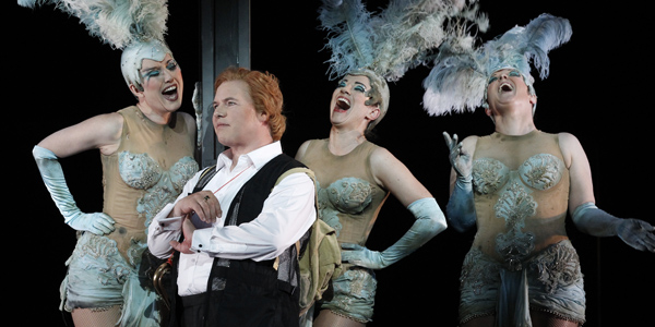 Stefan Vinke as Siegfried          with Dominica Matthews, Lorina Gore and Jane Ede as the Rheinmaidens in Opera Australia's          2013 production of Götterdämmerung as part of The Melbourne Ring Cycle