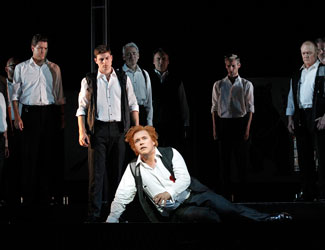 Stefan Vinke as Siegfried and The Male Ensemble in Opera Australia's The Melbourne Ring 2013 photo Jeff Busby