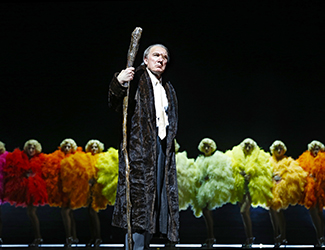 James Johnson as Wotan and the Rainbow Girls in Opera Australia's 2016 production of Das Rheingold. Photo by Jeff Busby