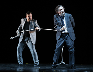 Andreas Conrad as Loge and Warwick Fyfe as Alberich in Opera Australia's 2016 production of Das Rheingold. Photo by Jeff Busby