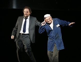 Warwick Fyfe as Alberich and Graeme Macfarlane as Mime in Opera Australia's 2016 production of Das Rheingold. Photo by Jeff Busby