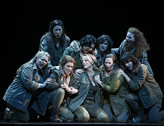 Anna-Louise Cole as Gerhilde, Hyeseoung Kwon as Helmwige, Dominica Matthews as Schwertleite, Roxane Hislop as Rossweisse, Lise Lindstron as Brünnhilde, Nicole Youl as Grimgerde, Amanda Atlas as Siegrune, Olivia Cranwell as Ortlinde and Sian Pendry as Waltraute in Opera Australia's 2016 production of Die Walküre. Photo by Jeff Busby
