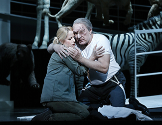 Lise Lindstrom as Brünnhilde and James Johnson as Wotan in Opera Australia's 2016 production of Die Walküre. Photo by Jeff Busby