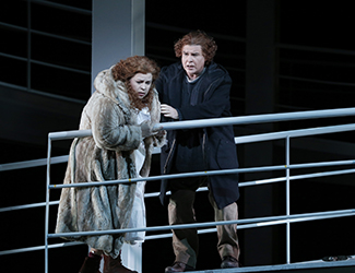 Amber Wagner as Sieglinde and Bradley Daley as Siegmund in Opera Australia's 2016 production of Die Walküre. Photo by Jeff Busby