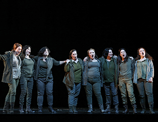 Dominica Matthews as Schwertleite, Sian Pendry as Waltraute, Nicole Youl as Grimgerde, Amanda Atlas as Siegrune, Anna-Louise Cole as Gerhilde, Roxane Hislop as Rossweisse, Hyeseoung Kwon as Helmwige and Olivia Cranwell as Ortlinde in Opera Australia's 2016 production of Die Walküre. Photo by Jeff Busby