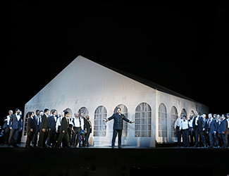 Daniel Sumegi as Hagen and the Opera Australia Chorus in Opera Australia's production of Götterdämmerung. Photo by Jeff Busby.