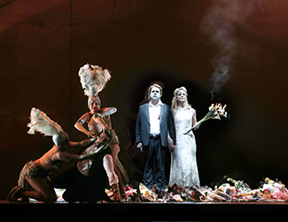 Jane Ede, Lorina Gore and Dominica Matthews as The Rhinemaidens, Daniel Sumegi as Hagen, Stefan Vinke as Siegfried and Lise Lindstrom as Brünnhilde in Opera Australia's production of Götterdämmerung. Photo by Jeff Busby.