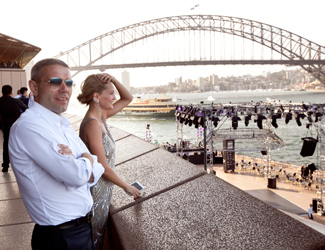 A couple at the Opera House on NYE