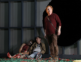 Jud Arthur as Fafner, Graeme Macfarlane as Mime and Stefan Vinke as Siegfried in Opera Australia's 2016 production of Siegfried. Photo by Jeff Busby