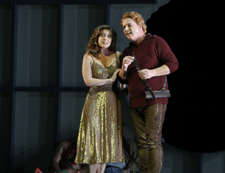 Julie Lea Goodwin as Woodbird and Stefan Vinke as Siegfried in Opera Australia's 2016 production of Siegfried. Photo by Jeff Busby