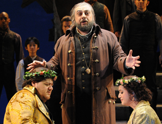 Diego Torre as Gabriele Adorno, George Petean as Simon Boccanegra and Natalie Aroyan as Amelia Grimaldi in Opera Australia's production of Simon Boccanegra at Sydney Opera House.