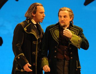 Adrian Tamburini as Pietro and Warwick Fyfe as Paolo in Opera Australia's production of Simon Boccanegra at Sydney Opera House.