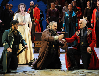 Natalie Aroyan as Amelia Grimaldi, George Petean as Simon Boccanegra and the Opera Australia Chorus in Opera Australia's production of Simon Boccanegra at Sydney Opera House.