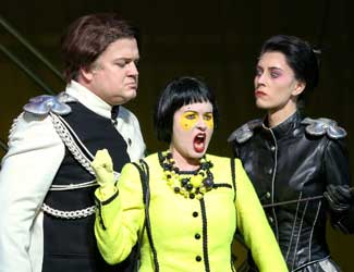 Andrew Moran (Leandro), Victoria Lambourn (Smeraldina) and Margaret Trubiano (Princess Clarice) in Opera Australia's production of The Love for Three Oranges.