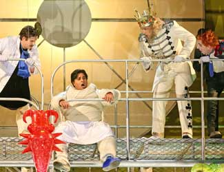 Luke Gabbedy (Pantaloon), Rosario La Spina (The Prince), David Parkin (The King of Clubs) and Kanen Breen (Truffaldino) in Opera Australia's production of The Love for Three Oranges.