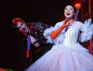 Kanen Breen (Truffaldino) and Eva Kong (Princess Linetta) in Opera Australia's production of The Love for Three Oranges.