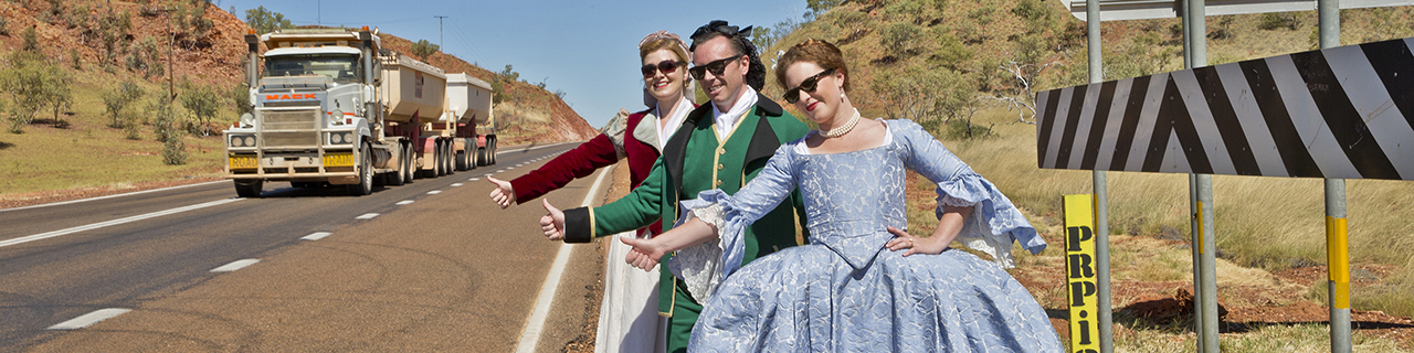 Three cast members of The Marriage of Figaro in Tennant Creek