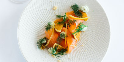 Smoked salmon with creme fraishe and chives