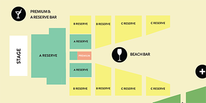 A map of the beach venue, with food and beverage outlet locations.