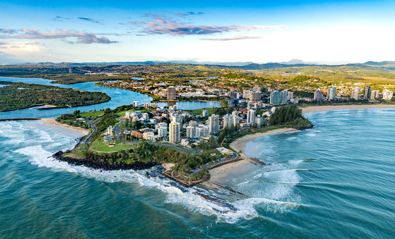 An aerial view of the Gold Coast