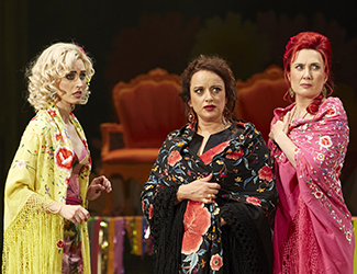 Margaret Trubiano (Mercédès), Clémentine Margaine (Carmen) and Jane Ede (Frasquita) in Opera Australia's production of Carmen.