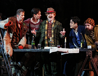 Shane Lowrencev as Schaunard, Christopher Tonkin as Marcello, Graeme Macfarlane as Benoit, Ji-Min Park as Rodolfo and Richard Anderson as Colline in Opera Australia's production of La Bohème. Photo by Prudence Upton