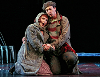 Mariangela Sicilia as Mimì and Christopher Tonkin as Marcello in Opera Australia's production of La Bohème. Photo by Prudence Upton