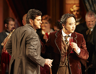 John Longmuir as Gastone and Ho-Yoon Chung as Alfredo Germont in Opera Australia's production of La Traviata. Photo by Keith Saunders
