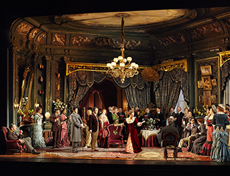 Adrian Tamburini as Baron Douphol, John Longmuir as Gastone, Ho-Yoon Chung as Alfredo Germont, Ermonela Jaho as Violetta Valéry, Samuel Dundas as Marquis D'Obigny, Dominica Matthews as Flora Bervoix and the Opera Australia Chorus in Opera Australia's production of La Traviata. Photo by Keith Saunders